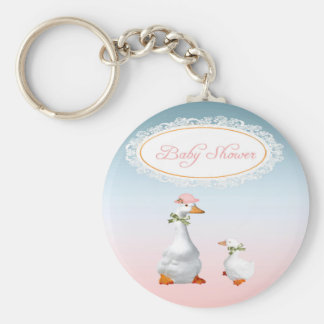 Mother Goose wearing Bonnet & Glasses with Baby Basic Round Button Key Ring