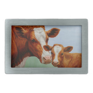 Mother Guernsey Cow and Cute Calf Belt Buckles