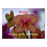 Mother Happy 90th Birthday Striped Orchid Greeting Card