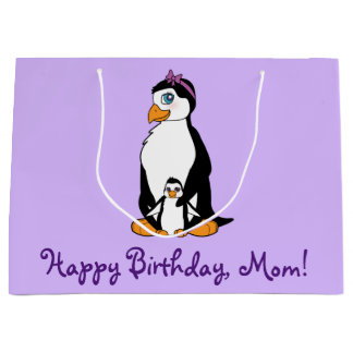 Mother Happy Birthday Penguin and Chick Large Gift Bag