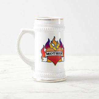 Mother Heart Tattoo Mother's Day Stein 18 Oz Beer Stein