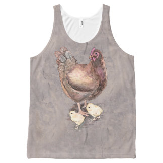 Mother Hen and Chicks Watercolor All-Over Print Tank Top