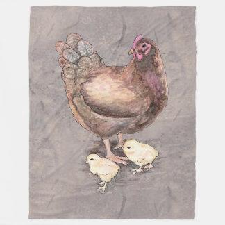 Mother Hen and Chicks Watercolor Fleece Blanket