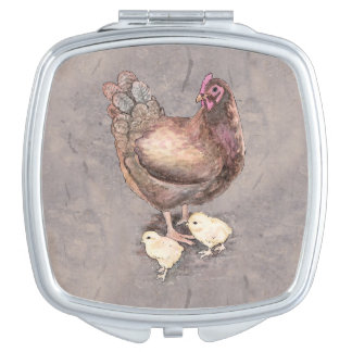 Mother Hen and Chicks Watercolor Makeup Mirror