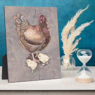 Mother Hen and Chicks Watercolor Plaque