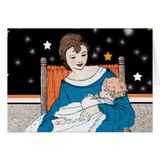 Mother Holding Her Baby in orange Chair Stars Card