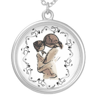 Mother Holding Her Child Silver Plated Necklace