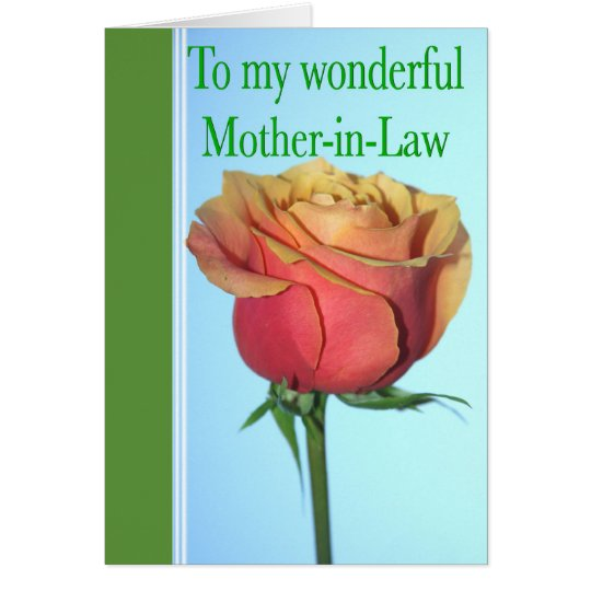 Mother-in-Law Mother's Day With Rose Greeting Card