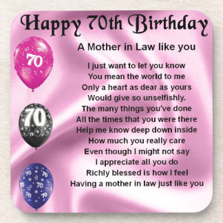 Mother in Law Poem - 70th Birthday Coaster