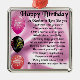 Mother in Law Poem  -  Happy Birthday Silver-Colored Square Decoration