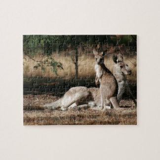 Mother Kangaroo and Joey Relaxing Jigsaw Puzzle