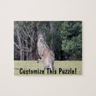 Mother Kangaroo with Baby Joey in Her Pouch Jigsaw Puzzles