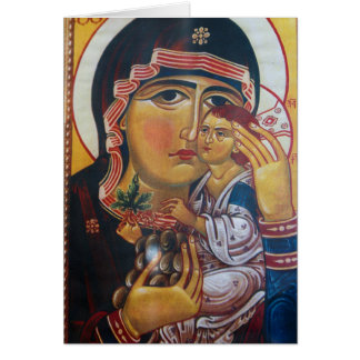 Mother Mary And Jesus Art Card