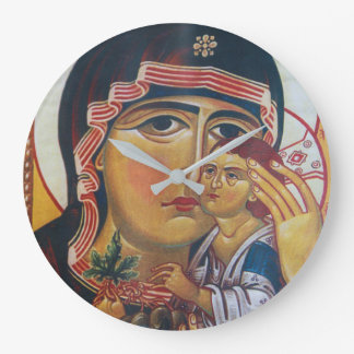 Mother Mary And Jesus Art Large Clock