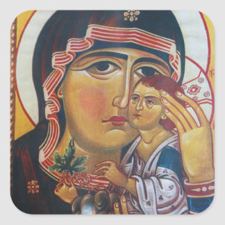 Mother Mary And Jesus Art Square Sticker