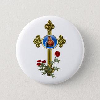 Mother Mary Cross 6 Cm Round Badge