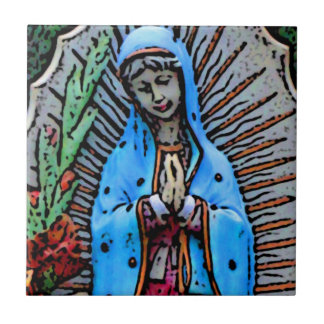 Mother Mary Folk Art Style Small Square Tile