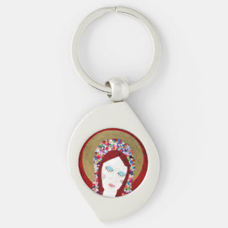 Mother Mary Silver-Colored Swirl Metal Keychain