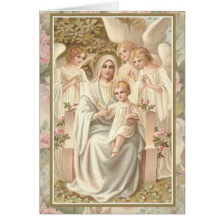 Mother Mary w Jesus and Angels Card Pastel Roses!