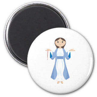 Mother Mary with Rosary 6 Cm Round Magnet