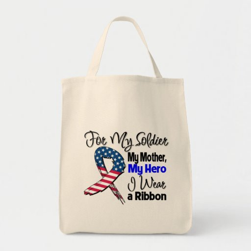 Mother - My Soldier, My Hero Patriotic Ribbon Tote Bags