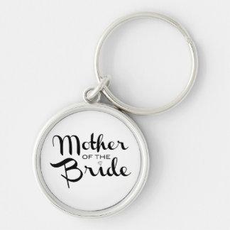 Mother of Bride Retro Script Black on White Key Ring