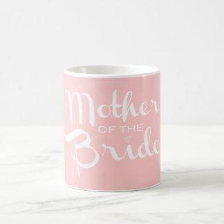 Mother of Bride Retro Script White On Pink Basic White Mug