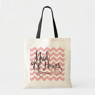 Mother of Honour Pastel Pink Chevron Tote Bag