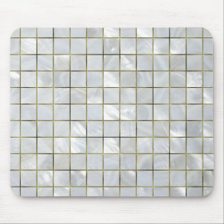Mother of Pearl Mosaic with Gold Foil Grid Mouse Pad