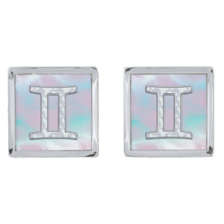 Mother of Pearl Style Gemini Zodiac Sign Silver Finish Cuff Links