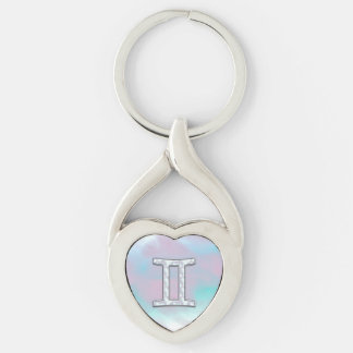Mother of Pearl Style Gemini Zodiac Symbol Key Ring