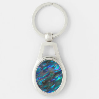 Mother Of Pearl Texture Blue Photo Pattern Key Ring