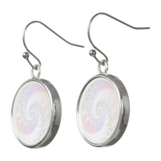 Mother of Pearls Luxurious Fractal Spiral Earrings