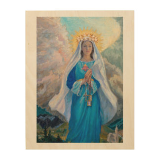 "Mother of Salvation wood panel, 11"" x 14"" Wood Wall Decor"