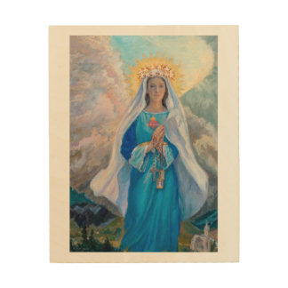 """Mother of Salvation wood panel, 8"""" x 10"""" Wood Wall Art"""