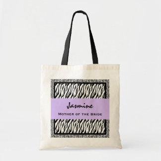Mother of the Bride Black White PURPLE Zebra V14 Budget Tote Bag