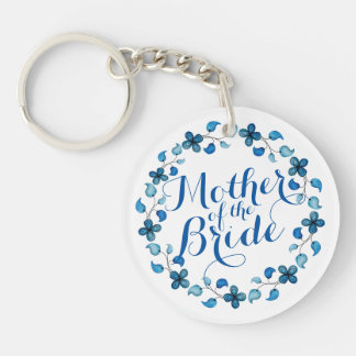 Mother of the Bride Blue Floral Wedding Keychain
