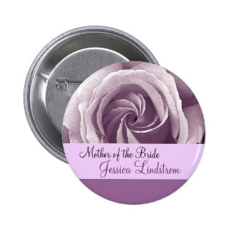 MOTHER OF THE BRIDE Button with LILAC PURPLE Rose Pinback Buttons