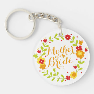 Mother of the Bride Cheerful Wreath Keychain