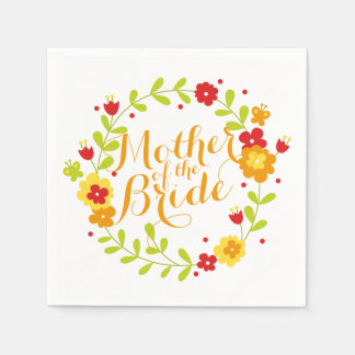 Mother of the Bride Cheerful Wreath Wedding Napkin Disposable Serviettes