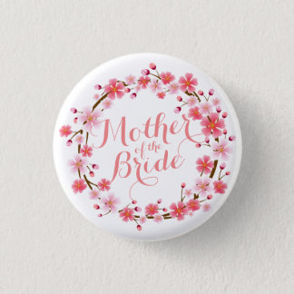 Mother of the Bride Cherry Blossom Wedding Button