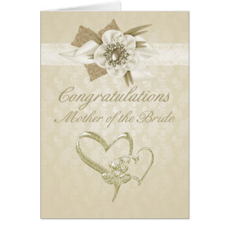 Mother of the bride Congratulations card cream wit