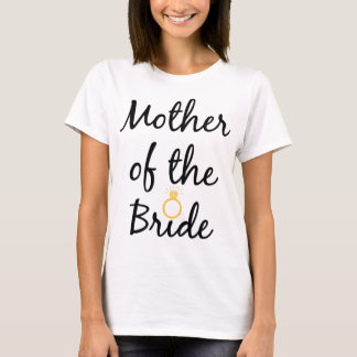 Mother of the Bride, Cursive, Gold Bling Tee Shirt