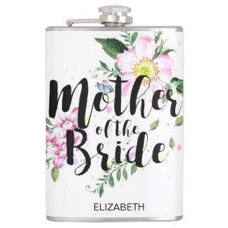 Mother of the Bride Floral Watercolor Wedding Flask