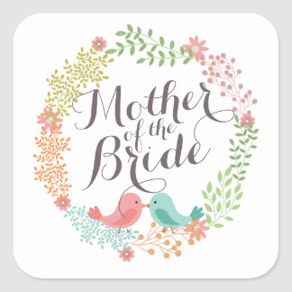 Mother of the Bride Floral Wreath Wedding Sticker