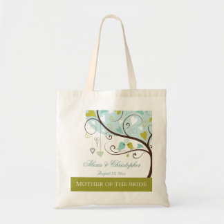 Mother of the bride green & blue love birds favor budget tote bag
