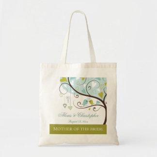 Mother of the bride green & blue love birds favor budget tote bag