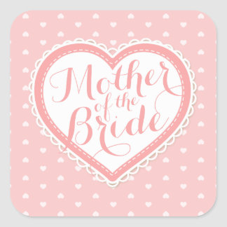 Mother of the Bride Heart Frame Wedding Sticker