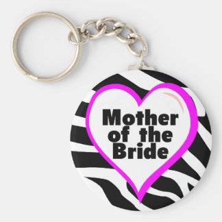 Mother of the Bride (Heart Zebra Stripes) Key Ring