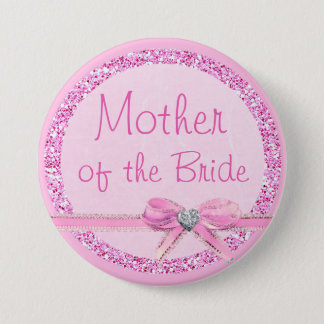 Mother of the Bride Pink Bow Faux Glitter Button